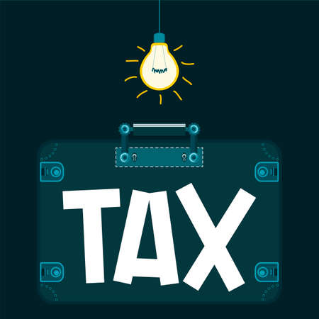 taxation: Tax in the suitcase in a dark room under the light bulb. Taxation. To escape from paying taxes. Criminal business. Illustration