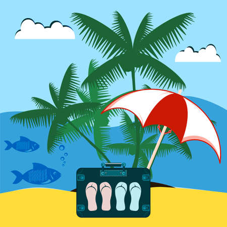 robinson: Suitcase traveler with slates under the beach umbrella and palm tree. Island in the sea with fish. Robinson. Rest on the sea, vacation. Illustration