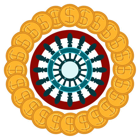 wheel of fortune: Roulette casino with Golden dollar coins. Good luck, win. Gambling. Illustration