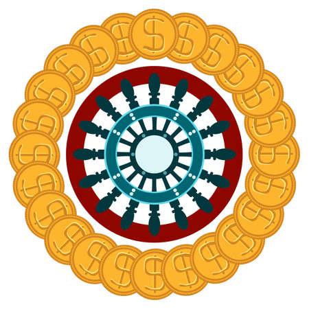 ruleta casino: ruleta del casino con las monedas de oro del d�lar. Buena suerte, ganar. Juego.
