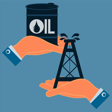 hydrocarbons: A barrel of oil and an oil derrick in hands. Exchange, buy oil. The market of hydrocarbons.