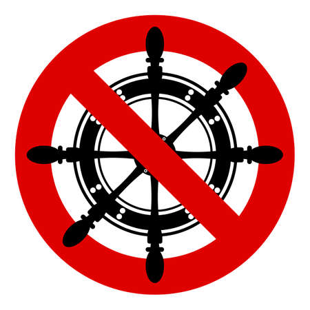 The helm of the ship. Ban the passage of ships, yachts. Shallow water area. A red stop Sign. Prohibited. No. Ban. Vetores