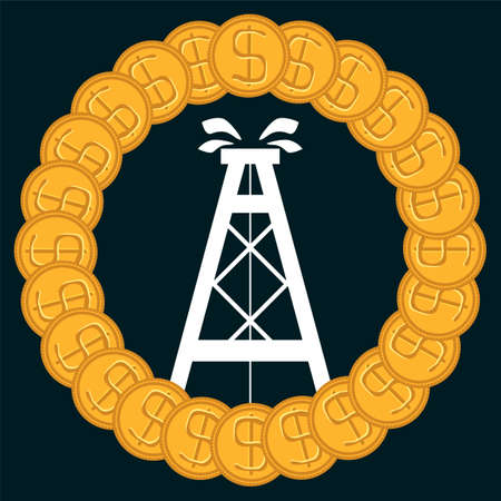 gusher: Oil rig in the circle of gold dollar coins. The oil market, the exchange. Illegal oil trading.
