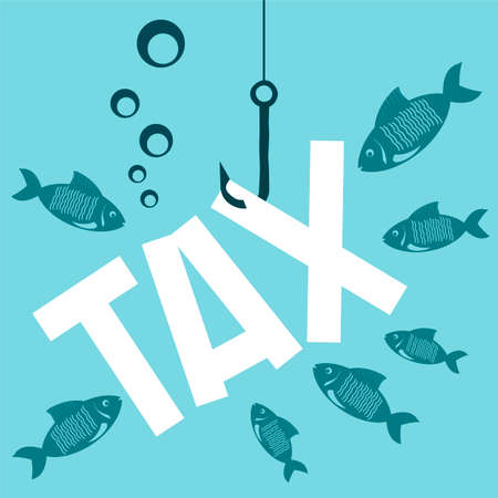 The tax on a hook under water with the fish. High taxes sinking the business. To hide from taxes.