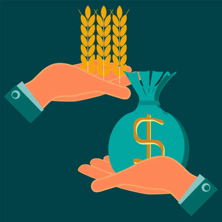 agribusiness: Ears of wheat and a bag of money in hands. Money in exchange for food. Exchange of grain. Help hungry.  Investments in agriculture. Payment of bread. Money in food trade, agribusiness, agrobusiness. Illustration
