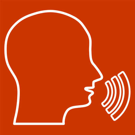 dissemination: The head says. Silhouette of a head with sound waves on a red background. Dissemination of information, gossip. Live. Illustration
