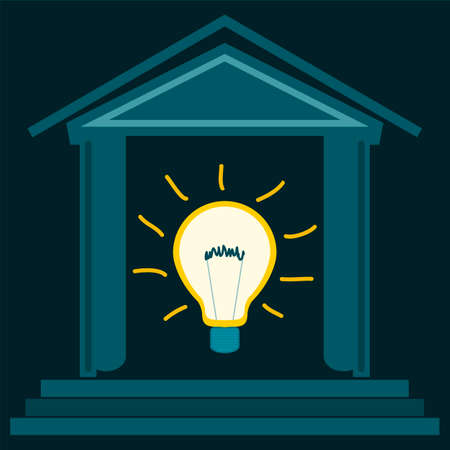 new ideas: Light bulb shines in the building. The Bank of new ideas. The Technopark. Energy saving.