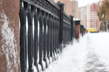 frost bound: Cast-iron fence in frost