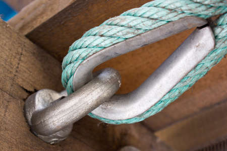 anchoring: Metal anchoring wooden beams, bolt and nut Stock Photo
