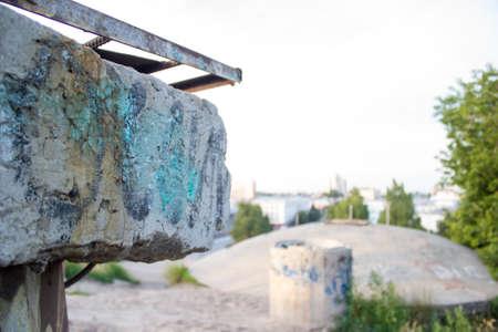 concrete block: Graffiti on the concrete block