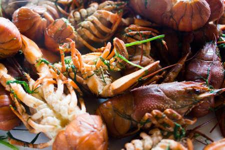 Boiled crawfish closeup