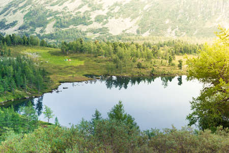 Beautiful mountain lake in the rocky summer day Stok Fotoğraf