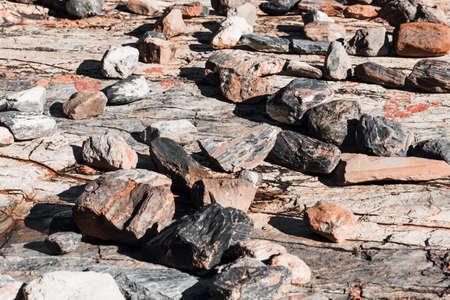 Stones in bed of dried river Banco de Imagens