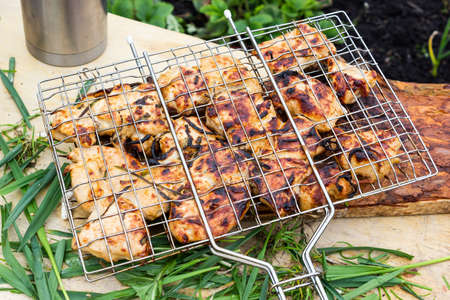Cooking meat on fire. Fry meat on metal grid. Barbecue on nature for party.