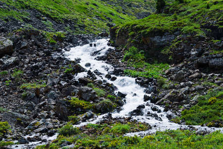 Swift mountain stream. Fast river in mountains among stones