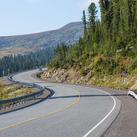 dry asphalt road with marking lines in forest, road trip to mountains
