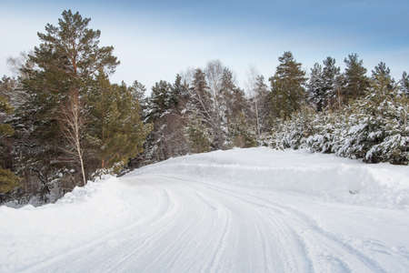 Snow road in winter pine forest. Ice and snowstorm on a country road. Clearing the road from snowdrifts. Standard-Bild