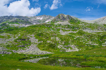 Rock ridge with snow and stone placers under blue sky. Summer trip to mountain valley. Atmospheric alpine landscape with stony meadow with green grass. Standard-Bild
