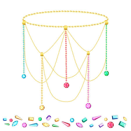 Postcard with colorful gems. Set of gold chains. Set of diamonds. Stock Illustratie
