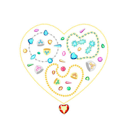 Postcard with colorful gems. Set of diamonds. Golden heart.