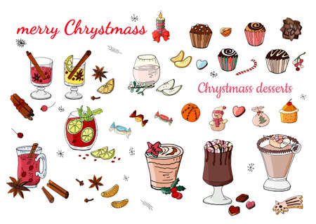 Set of various traditional winter desserts and drinks. Template for season and christmas design, greeting cards, invitations and decorations, color, handmade. Calligraphic phrase christmas vector Ilustracja