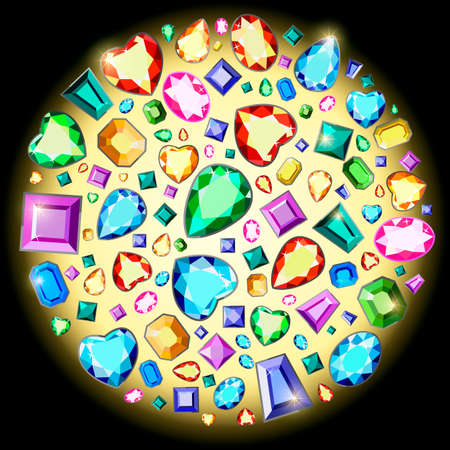 Postcard with colorful gems. Colored gems of different cut. Stock Illustratie