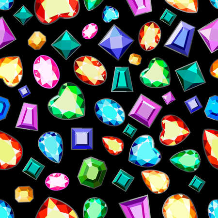 A pattern of colored gemstones of various cuts. Postcard with colorful gems. Colored gems of different cut.
