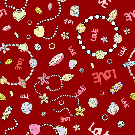 Pattern of fashionable chains and beads for women on a bright red background. handmade