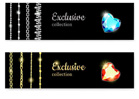 Gold and silver chains with precious stones of various facets. Diamond heart. Set of exclusive jewelry for women.