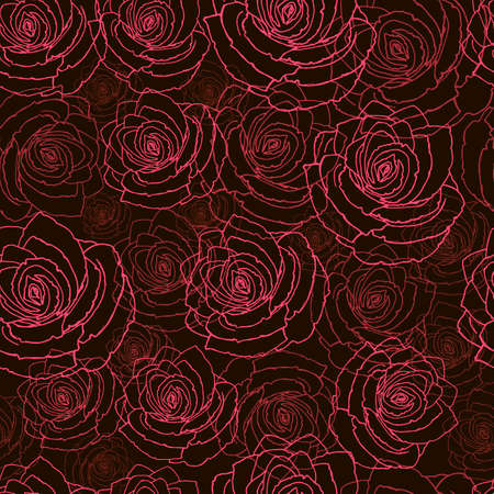 Stylish wallpaper with red flowers. Pink and red roses on a black background.