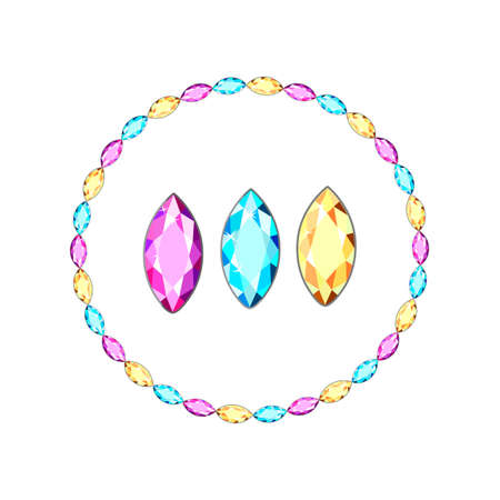 Postcard with colorful gems. Colored gems of different cut.Gold chains with gems of different cut. Accessories with multicolored diamonds for women.