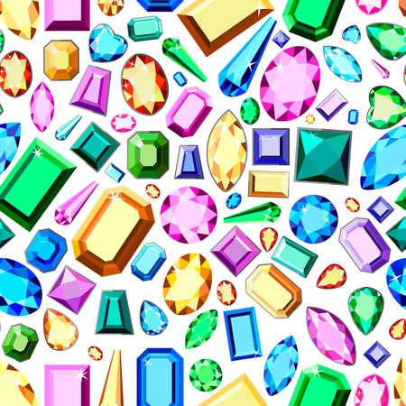 Pattern with multi-colored diamonds. Wallpaper with colorful gems. Postcard with colorful gems. Colored gems of different cut. Stock Illustratie