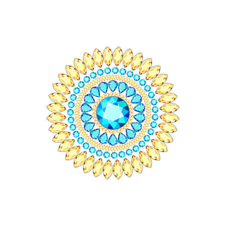 Brooch made of precious stones of different colors and different cut. Brooch from multi-colored diamonds in the form of a mandala. Diamond accessories for women.