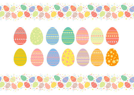 Colorful eggs for the Easter holiday. Easter set of eggs with beautiful pictures. 向量圖像