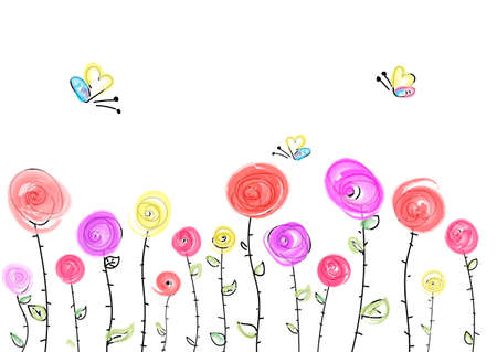 Congratulatory template with multicolored roses. Abstract pattern with bright roses and butterflies on a white background. Linear pattern of flowers in the meadow. Иллюстрация