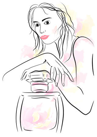 Linear drawing fashionable girl with a perfume. Perfume fragrance develops around a stylish woman. Floral fragrance of pink perfume on the neck of a modern girl. 向量圖像