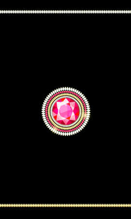 Brooch made of precious stones of different colors and different cut Brooch from multi-colored diamonds in the form of a mandala. Diamond accessories for women.