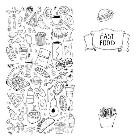 Hand drawn doodle set Fast food. Vector illustration. Junk food items collection. Cartoon snack different sketch icon: soda, hamburger, french fries, hot dog, pizza, taco, sweet dessert, donut, popcorn.