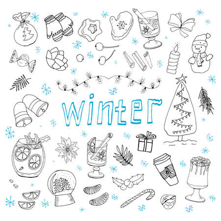 Set of winter doodles. Hand drawing styles winter items. Winter elements drawn in a doodled style. Winter doodles collection.