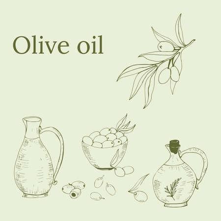 Hand drawn vector illustration olive oil and olives. Set of olive branch illustrations. Design elements for poster, label, emblem, sign, banner. Vector illustration.