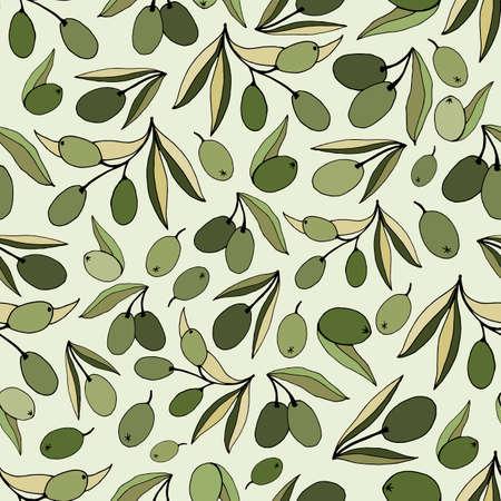 Seamless pattern olives, hand-drawn olive fruits and branches. Set of olive branch illustrations. Design elements for poster, label, emblem, sign, banner. Vector illustration.
