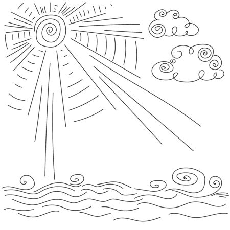 clear: clear weather sun clouds waves Illustration