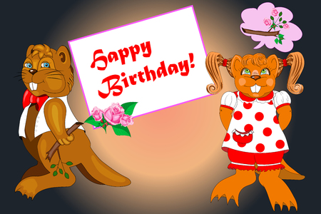 beavers: beavers in the style of animation happy birthday
