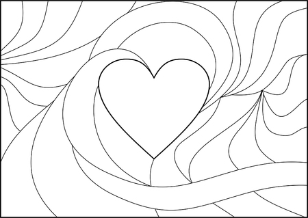 form a heart with a freely sliding lines around filled with patterns and coloring