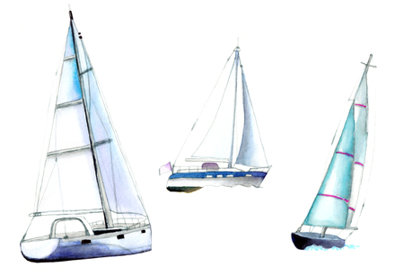 Pleasure craft, yachts. Watercolor illustration on white background. Stock fotó