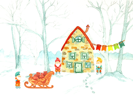 fairy forest with gnomes and the house. Watercolor Christmas illustration Stock Photo