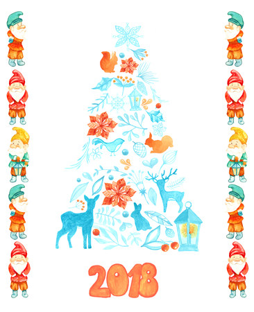 watercolor Christmas card with Christmas tree and gnomes. Postcard template for designer. Deer, squirrel, rabbit, bird, branch, berries, lantern Stock Photo - 106101850
