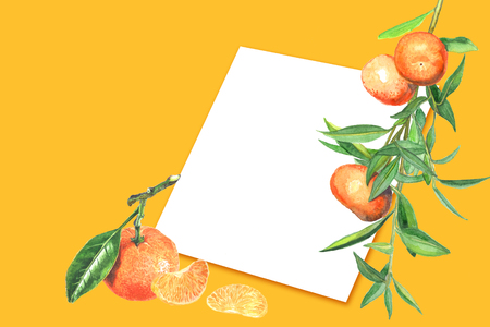 design with tangerine and a blank sheet of paper for labels. Template for invitations, letters, cards, for designer. Natural product, natural, eco-friendly, beautifully decorated,
