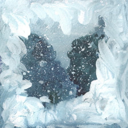 snow aquarelle patterns on the window, abstract background Stok Fotoğraf