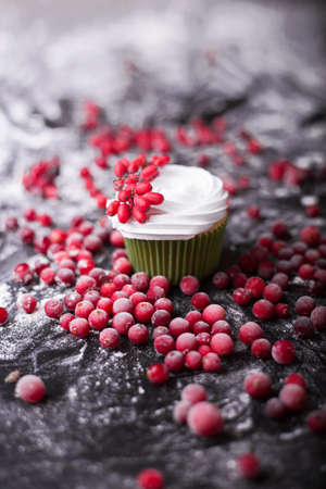 mountain cranberry: Cupcake with red berries, cranberry, mountain ash on a dark background Stock Photo